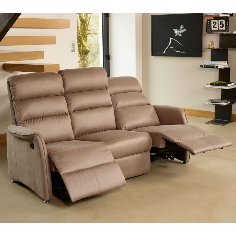 Salon complet relax marron cendr softy univers salon tousmesmeubles - Salon relaxation electrique ...