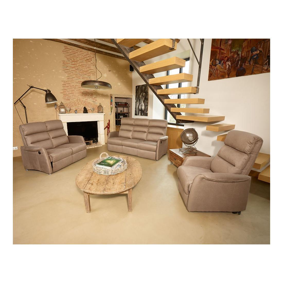 salon complet relax marron cendr softy univers salon tousmesmeubles. Black Bedroom Furniture Sets. Home Design Ideas
