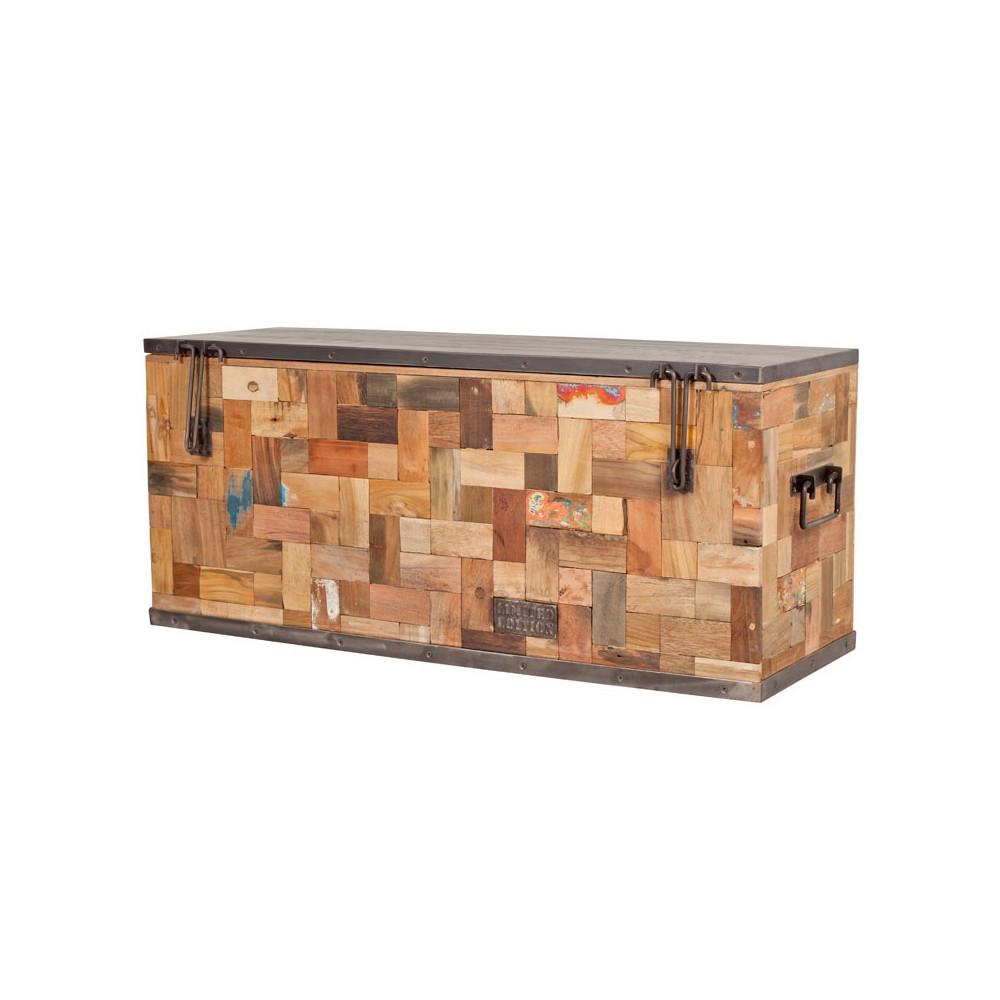 Coffre de rangement 100 cm industry univers petits meubles - Coffre rangement chaussures ...