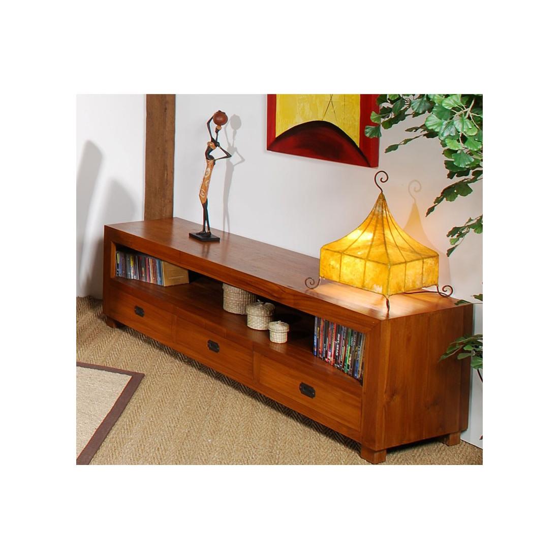 meuble tv 3 tiroirs grand pias univers du salon tousmesmeubles. Black Bedroom Furniture Sets. Home Design Ideas