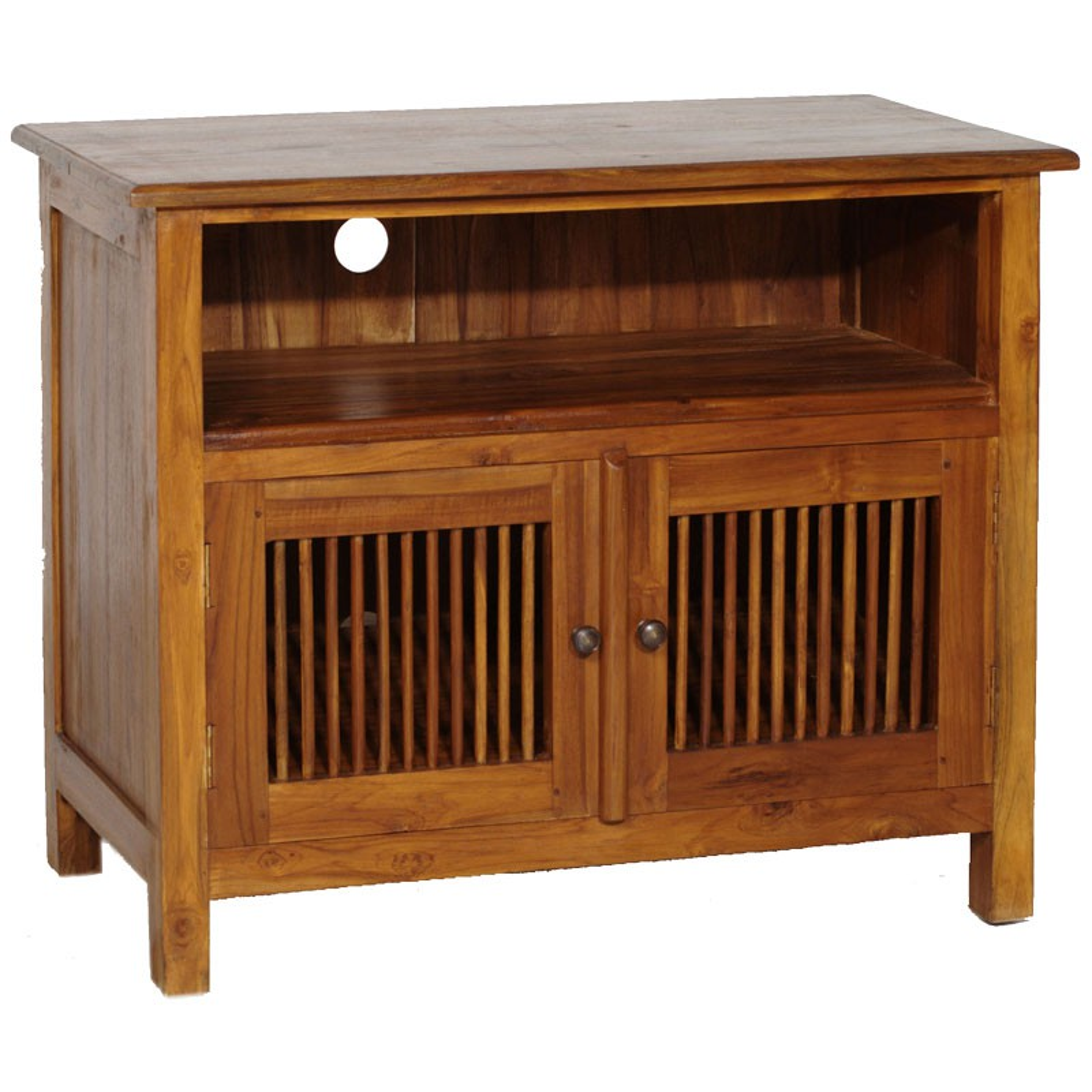 meuble tv 2 persiennes en teck pias univers du salon tousmesmeubles. Black Bedroom Furniture Sets. Home Design Ideas