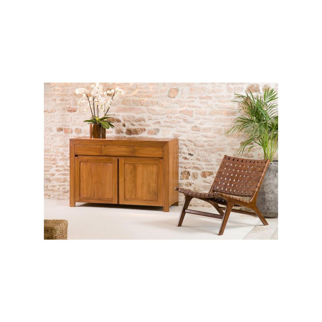 buffet 2 portes 3 tiroirs pias en teck salle manger tousmesmeubles. Black Bedroom Furniture Sets. Home Design Ideas