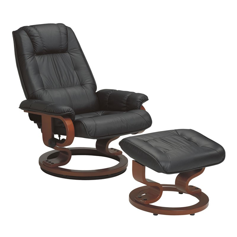 Fauteuil de relaxation Cuir Noir EXCELLY
