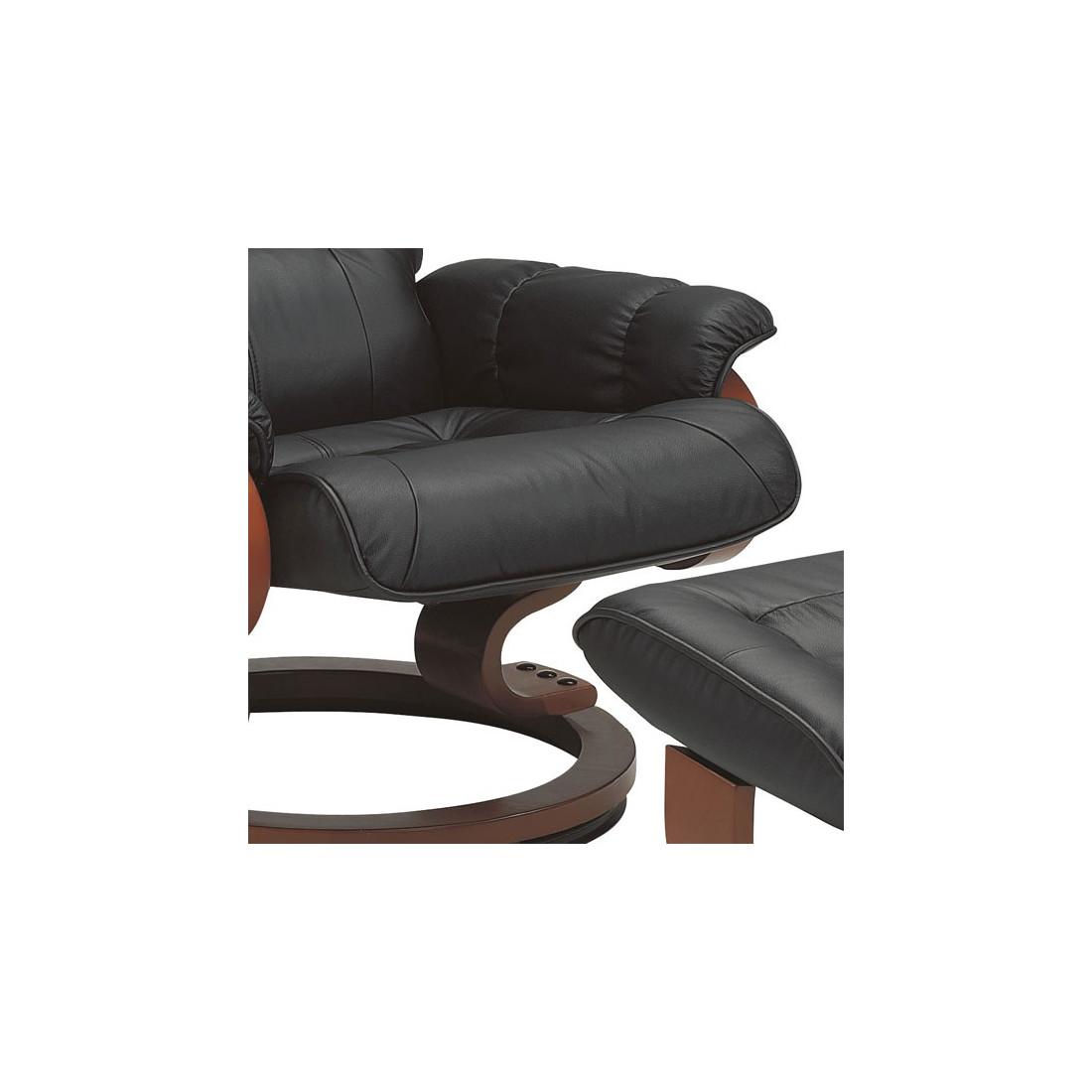 fauteuil de relaxation cuir noir univers du salon tousmesmeubles. Black Bedroom Furniture Sets. Home Design Ideas