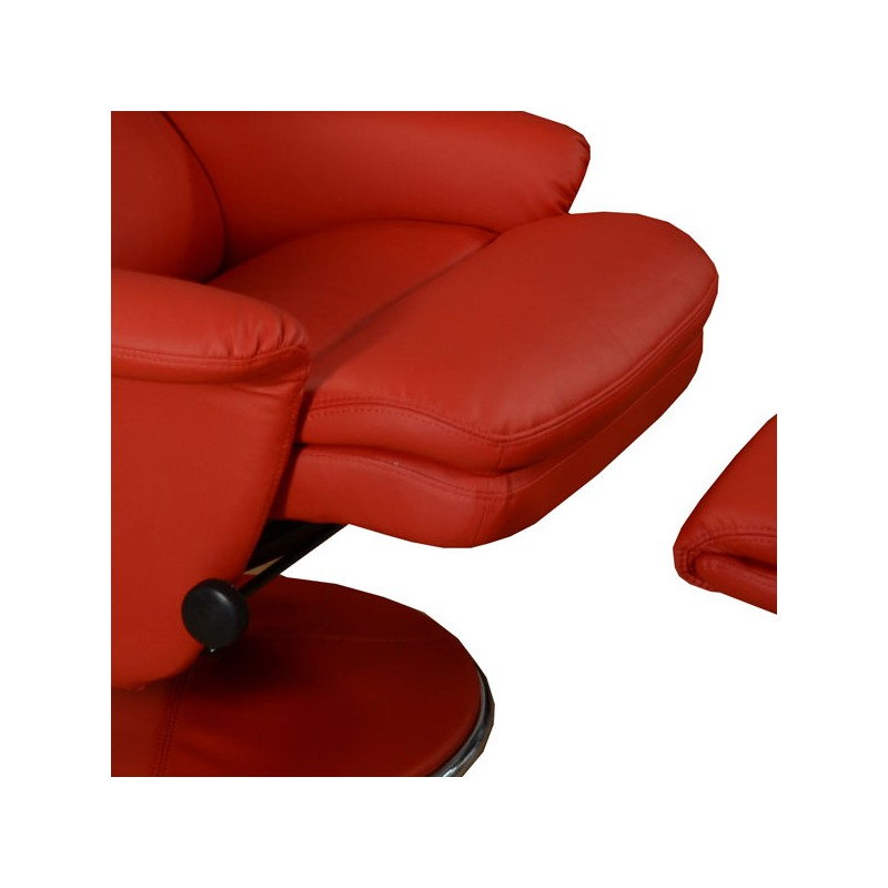 Fauteuil de relaxation simili cuir rouge niagara univers salon - Fauteuil relax simili cuir ...