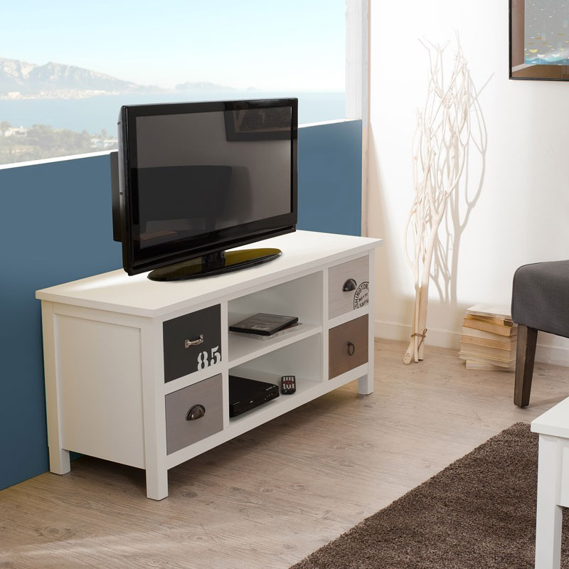 meuble tv 4 tiroirs kevin univers salon tousmesmeubles. Black Bedroom Furniture Sets. Home Design Ideas