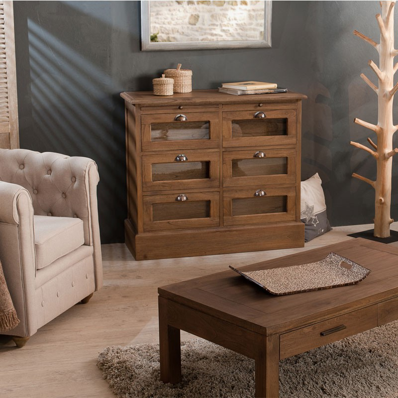 meuble d 39 entr e grainetier 6 tiroirs bois lydia univers salle manger. Black Bedroom Furniture Sets. Home Design Ideas