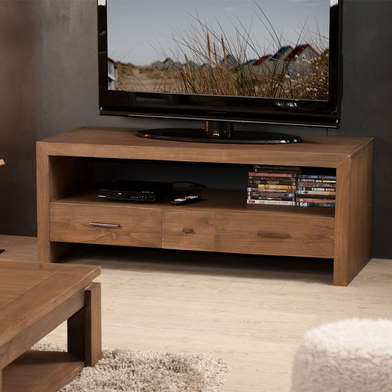 meuble tv 3 tiroirs bois exotique mindi massif lydia univers salon. Black Bedroom Furniture Sets. Home Design Ideas