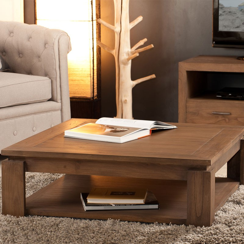 Table basse carr e bois exotique mindi massif lydia univers salon - Table basse carree en bois ...