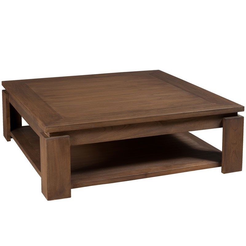 Table basse carr e bois exotique mindi massif lydia - Table basse coloniale ...