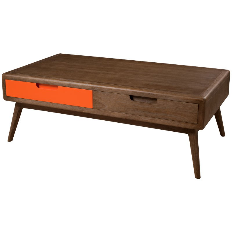 Table basse 2 tiroirs bois orange lucky univers salon for Table basse scandinave bois