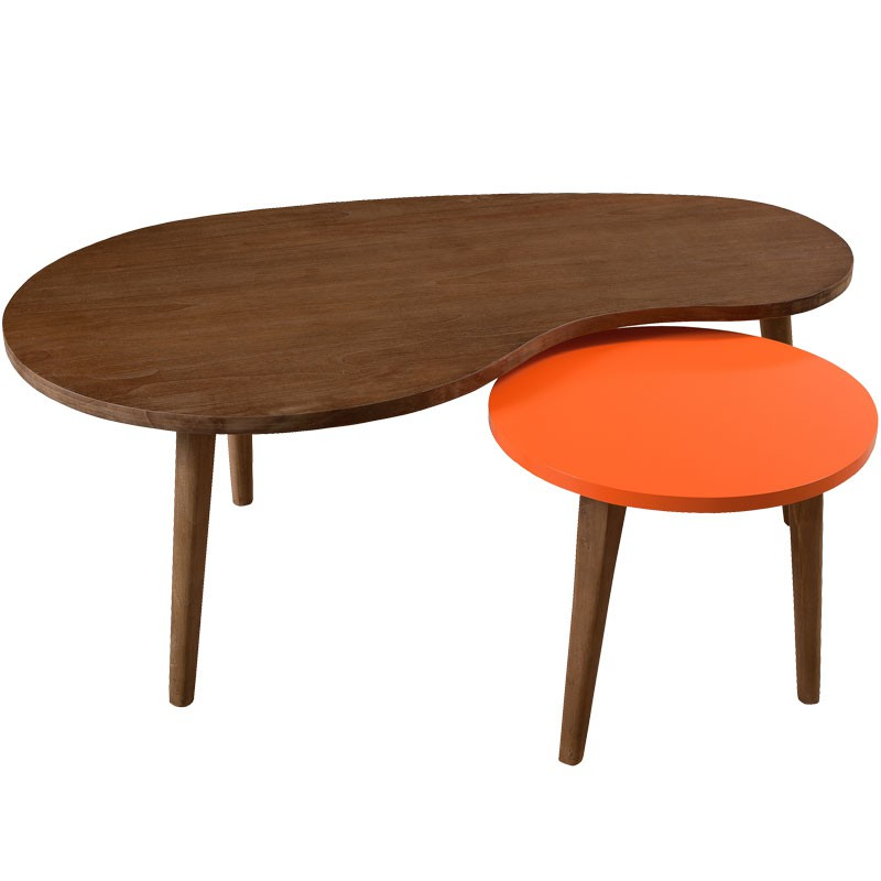 Tables basses gigognes bois lucky univers salon for Table basse orange