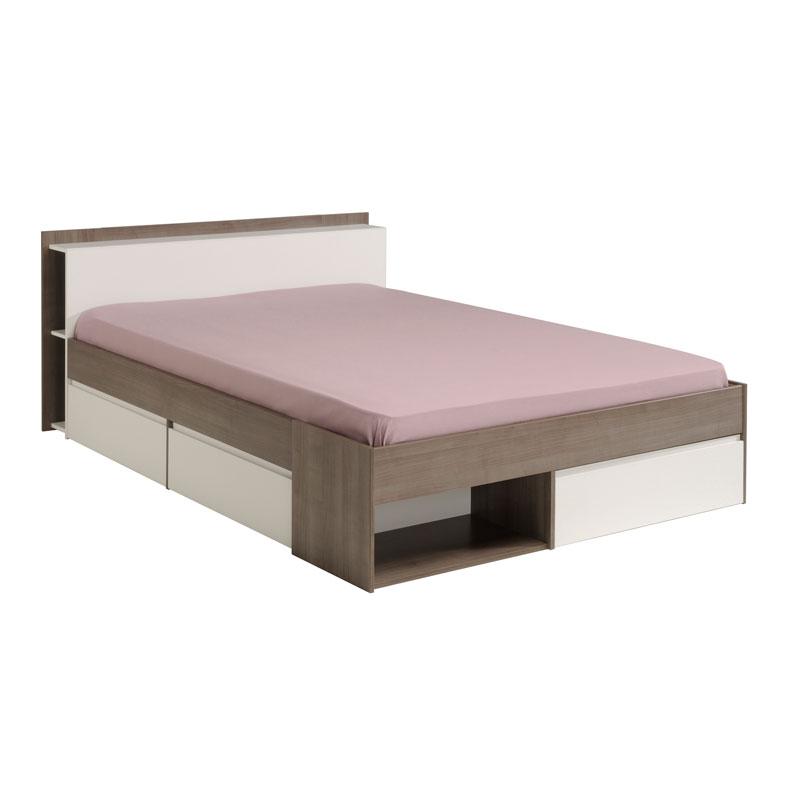 Cadre de lit à tiroirs + Tête de lit 160*200 Blanc/Noyer GENUIS
