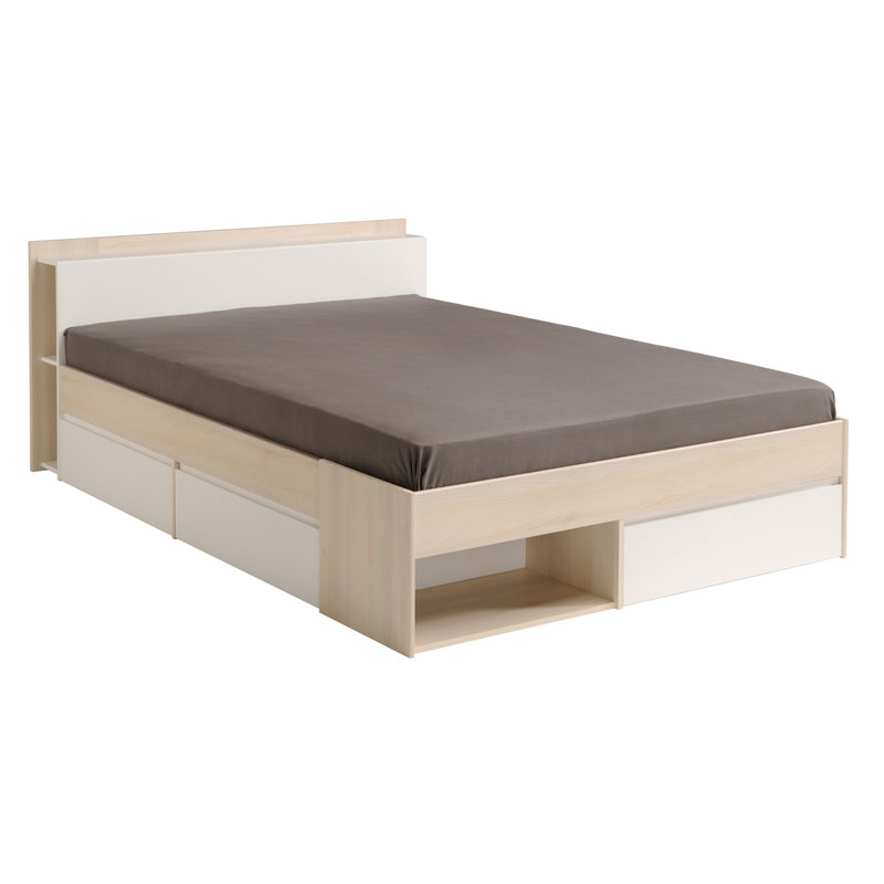 Cadre de lit à tiroirs + Tête de lit 160*200 Acacia/Blanc GENUIS