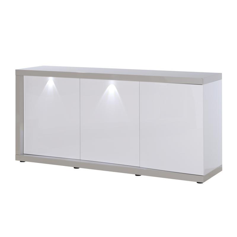 Buffet 3 portes Gris/Blanc à LEDs PATTAYA