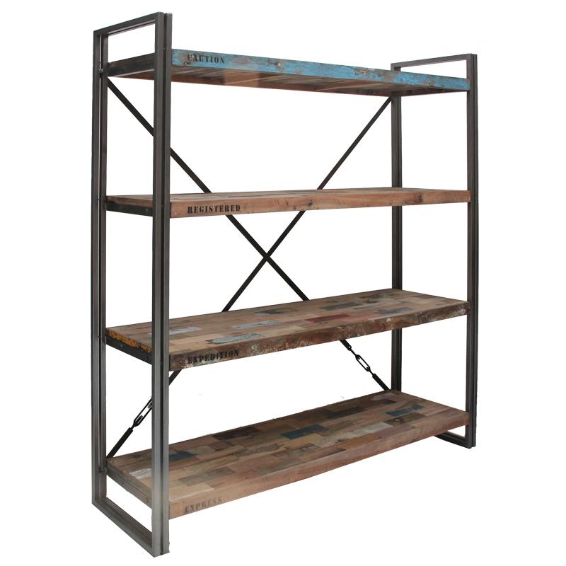 Bibliothèque en bois 4 étagères - INDUSTRY