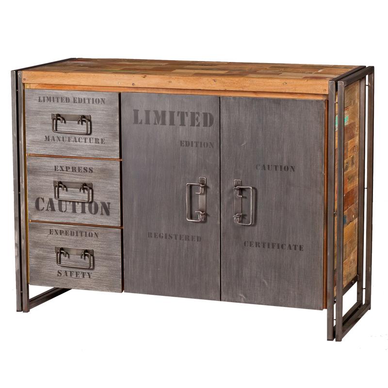Buffet en bois 2 portes 3 tiroirs INDUSTRY