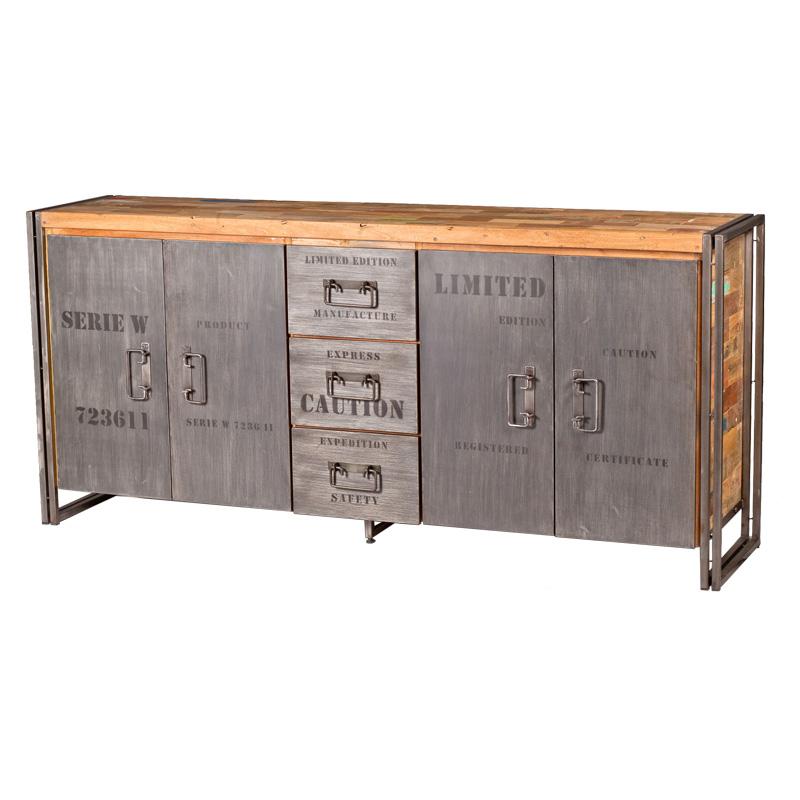 Buffet en bois 4 portes 3 tiroirs INDUSTRY