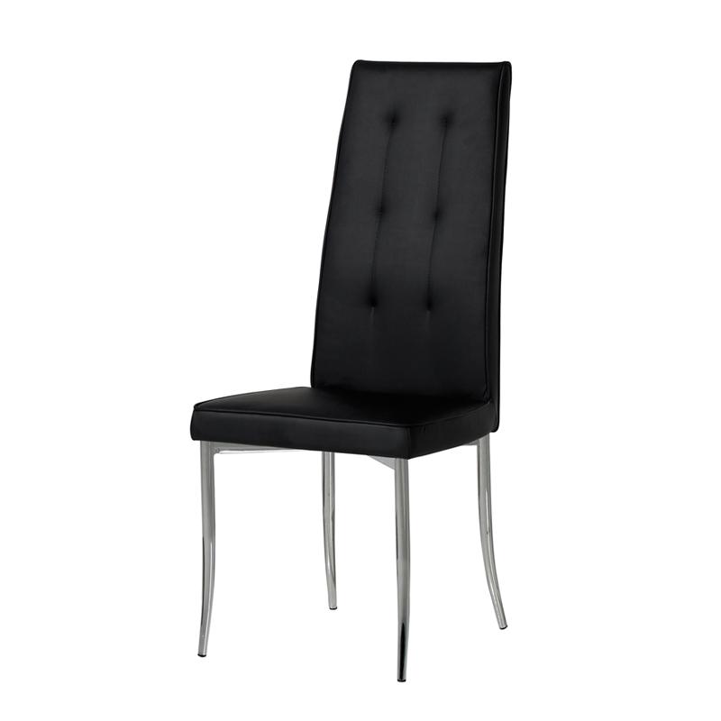 Duo de chaises en Simili cuir Noires OLGA