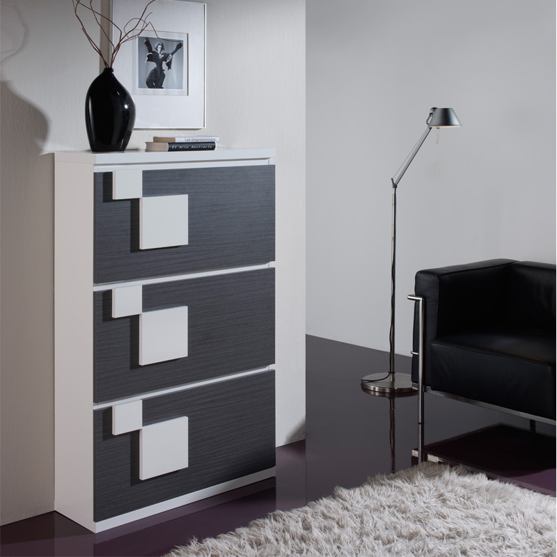 meuble chaussures blanc noyer squadra univers petits. Black Bedroom Furniture Sets. Home Design Ideas