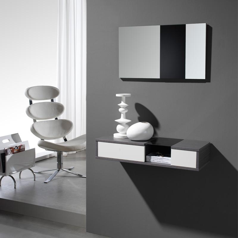 Meuble d'entrée Cendre + miroir CLOUD