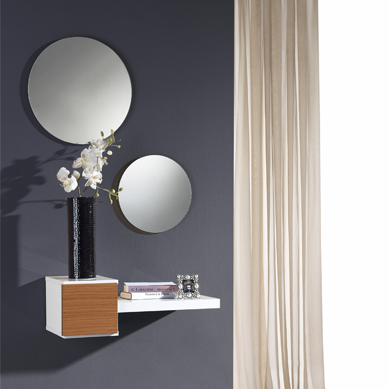 Meuble d'entrée Noyer + miroir TIGA