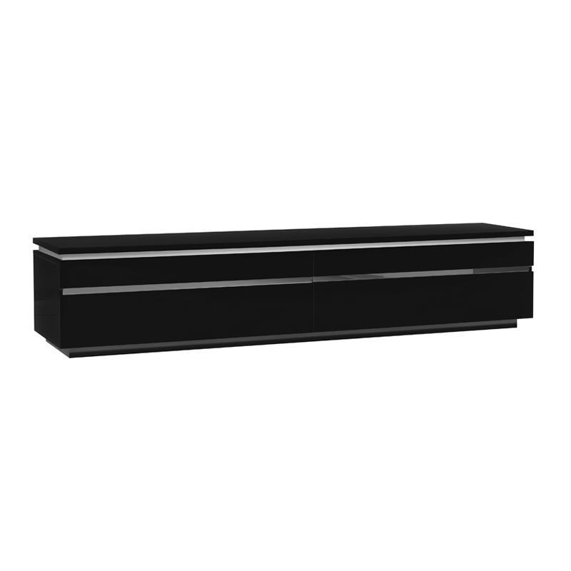 Meuble TV laque noire 2 portes abattantes CARMEN