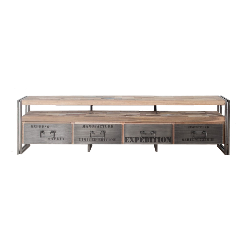 Meuble TV en bois 4 tiroirs - INDUSTRY