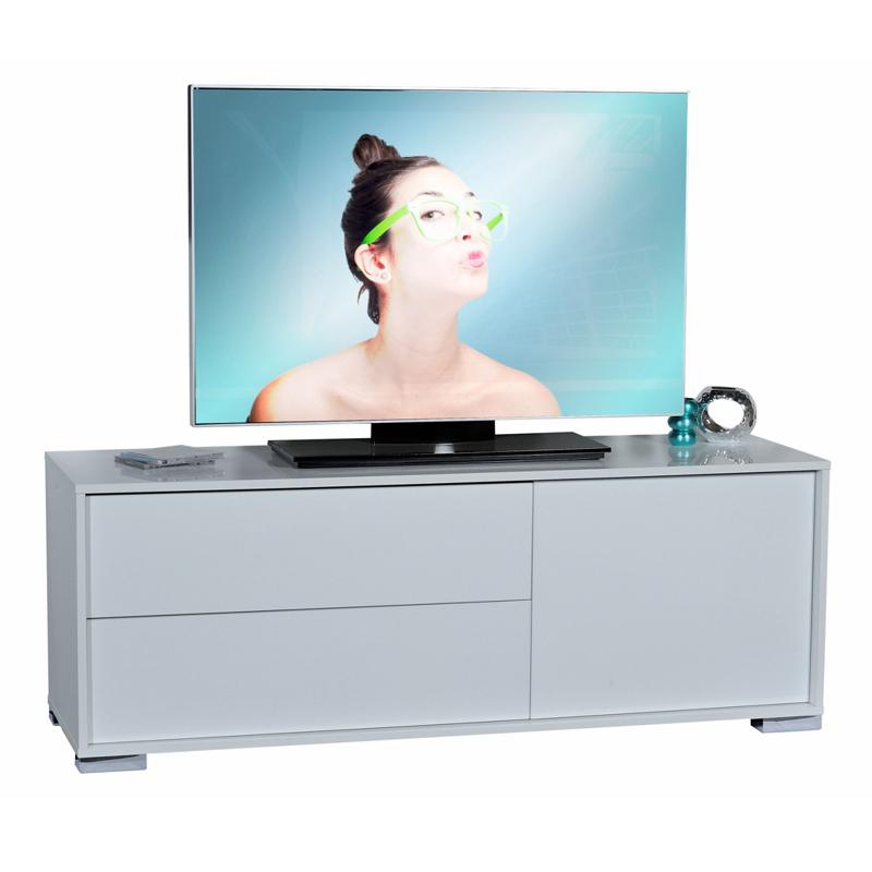 Meuble TV Blanc 1 porte 2 tiroirs NAVO