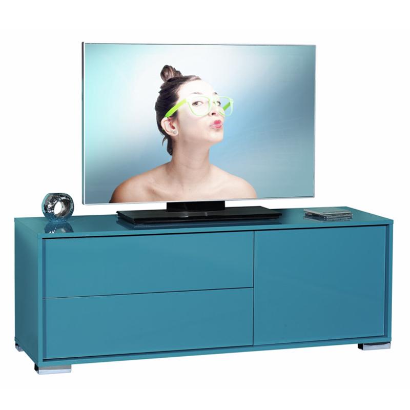 Meuble TV Turquoise 1 porte 2 tiroirs NAVO