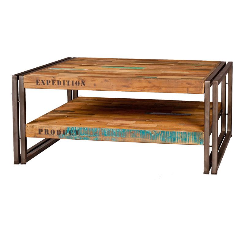 Table basse en bois carrée 80 cm