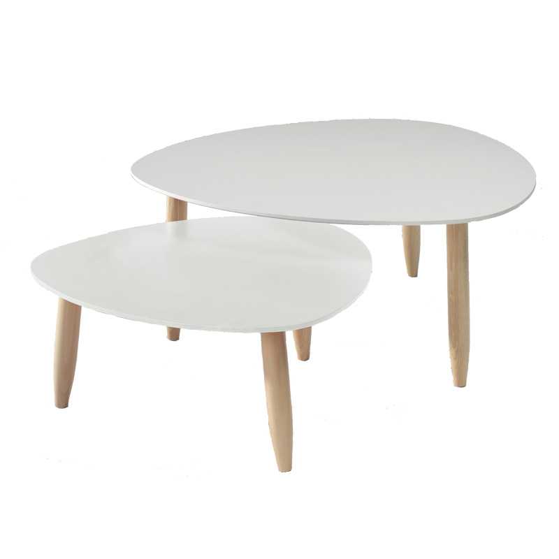 Tables gigognes blanc gris ovni univers salon - Table blanche et bois ...