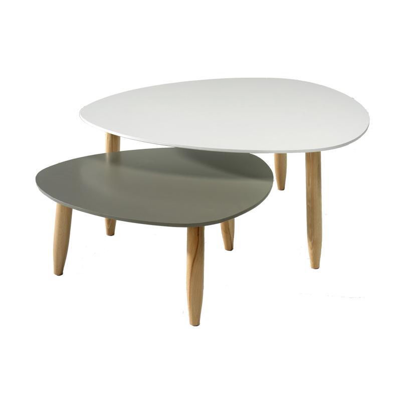 Tables gigognes Blanc/Gris OVNI