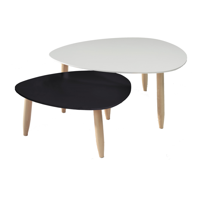 Tables gigognes Blanc/Noir OVNI